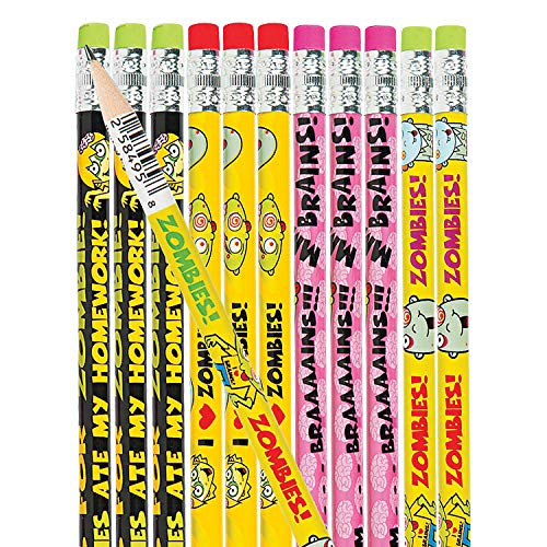 Fun Express Zombie Pencils for Halloween - 24 Pieces