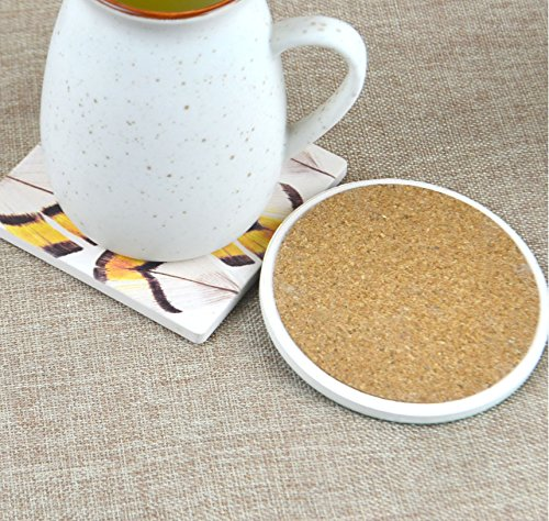 UJNB-Home Fish Animals Cat Hallway Door Water Ceramic Stone Coaster Cork Coaster for Mugs and Cups