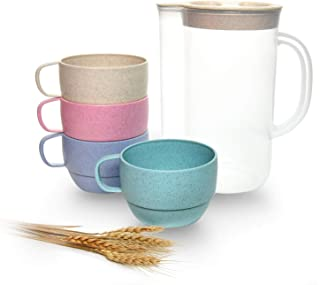Gonioa Unbreakable Cereal Kettle Set,Wheat Straw Drinking Cup Set,Wheat Straw Kettle Set - Dishwasher & Microwave Safe - B...