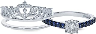 3/4 ct Round natural White Diamond Blue Sapphire 925 Sterling Silver Insert Princess Crown Ring