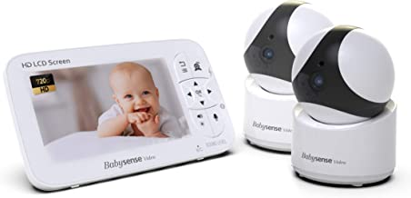Babysense HD 720P Video Baby Monitor with Large 5 Inch Display and Two Cameras (Remotely Operated Pan Zoom Tilt), Multi HD Cameras (up to 4), Two Way Talk Back Audio, Zoom, Long Range, Night Vision