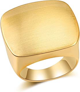 Modern Metal Brushed Metal Finish Square Cocktail Statement Rings for Women and Girls Eco Material Silver and Gold