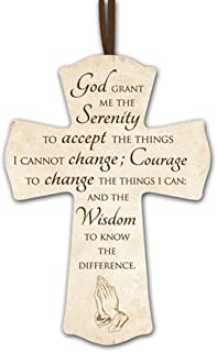 Serenity Prayer Wooden Cross with Ribbon Hanger, 6 Inch