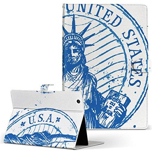 igcase KYT33 Qua tab QZ10 キュアタブ quatabqz10 手帳型 タブレットケース カバー レザー フリップ ダイアリー 二つ折り 革 直接貼り付けタイプ 009742 外国 英語 青