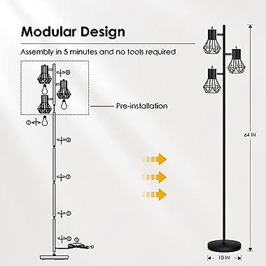 Industrial Floor Lamp, StandingLamp, Farmhouse TreeFloorLamp with 3pcs 6W Edison Bulbs, Free Adjustable Cage Heads, Indepe
