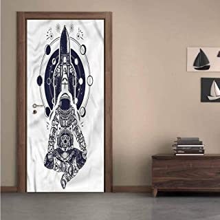 Moon Phases,3D Door Decal Space Shuttle Astronaut DIY Art Home Decor Decoration W36xH79