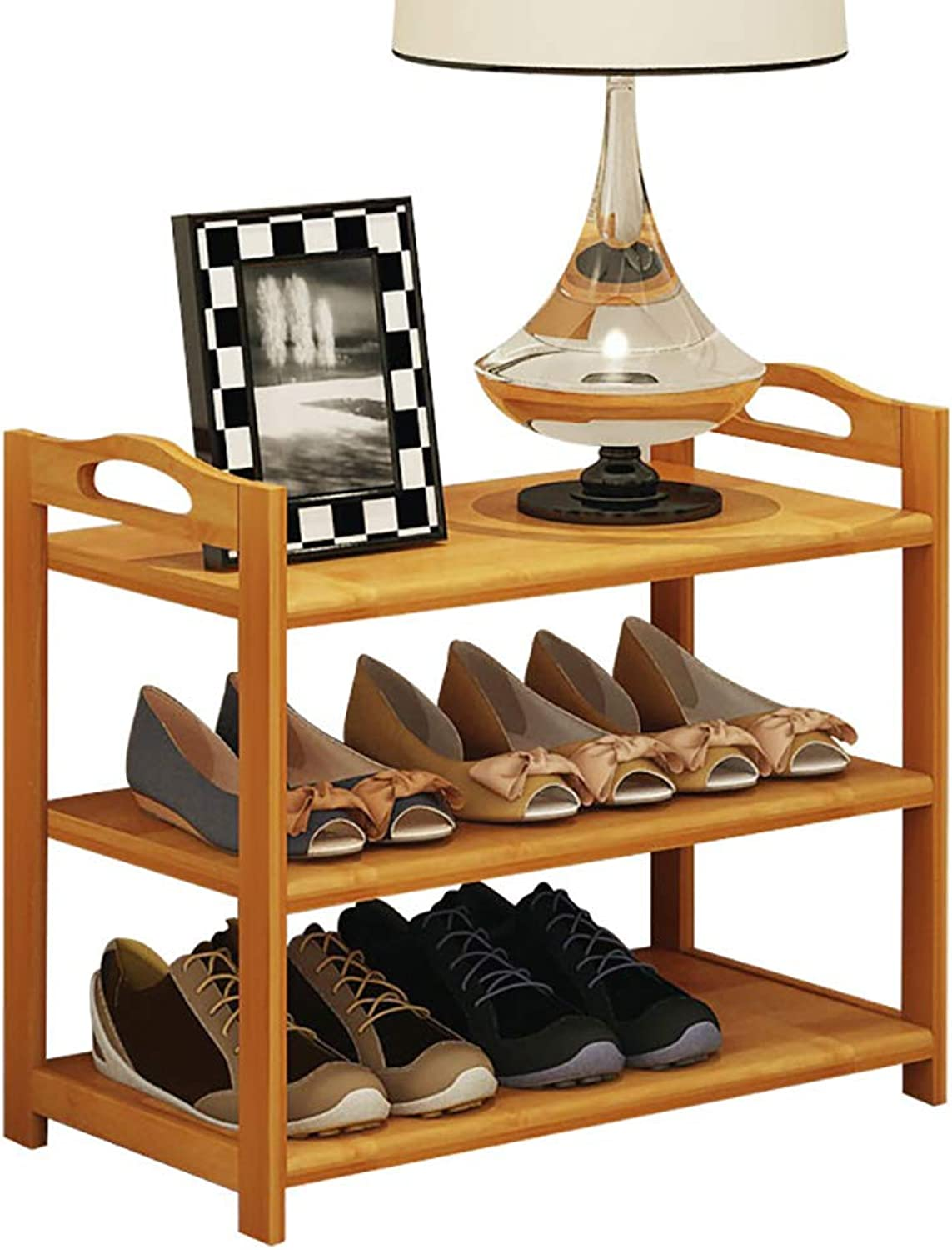 shoes Bench Organizing Rack shoes Rack Simple Solid Wood Multi-Layer Economic Bamboo Slipper Three-Layer Small shoes Rack (Size   50  26  50cm)