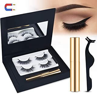 Magnetic Eyelashes, Magnetic Eyeliner With 3D Magnetic False Eyelashes 2 Pair Reusable Fake EyeLashes