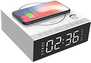 Wireless Charging Alarm Clock Bluetooth Speaker with Remote Control,FM Radio,USB Port,TF-Card,AUX-in,Snooze,LED Display,Ha...