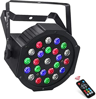 Par Light for Stage Lighting, LaluceNatz 24W 24LEDs RGB&WHITE Stage Lights for Wash Wall Stage Lighting by Remote and DMX512 Control for Halloween Church Wedding DJ party Lighting