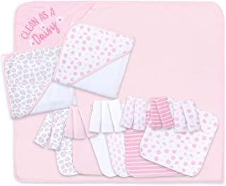 The Peanutshell Hooded Bath Towel and Wash Cloth Set for Baby Girls - 23 Piece Gift Set - Pink Floral & Cheetah Print