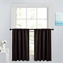 PONY DANCE 36 Inches Curtain Valances - Rod Pocket Window Treatments Noise Reduction and Privacy Protection Curtain Tiers, 42 x 36 inches, Chocolate Brown, Set of 2
