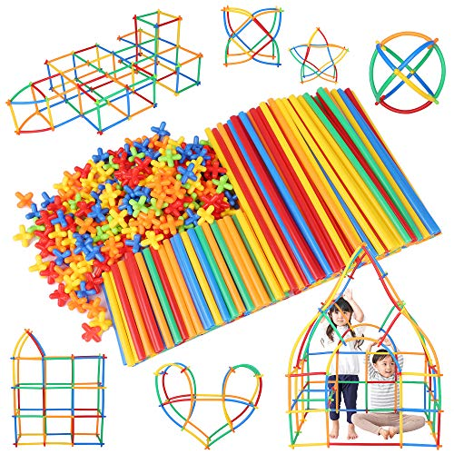 (Official) Lon-Bi New Sensory Tubular Blocks for Building and Activities, 7 Colors, 560 Pieces