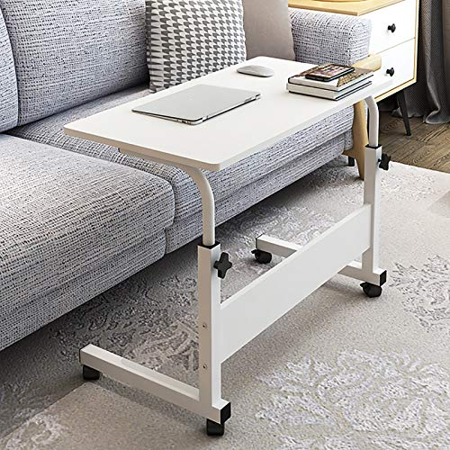 Lamoy - Soporte Portátil para Computadora Portátil, Escritorio para Computadora Móvil, Mesa De Noche Ajustable En Altura, 60 X 40 Cm (White)