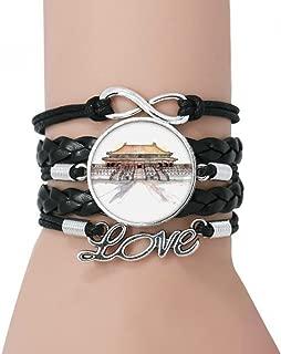 DIYthinker Forbidden City in Beijing China Bracelet Love Black Twisted Leather Rope Wristband