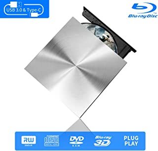Blu Ray External Writer/Reader 3D, USB C & 3.0 Burner Slim Optical Portable Blu-ray CD DVD Drive RW for Laptop Desktop MacBook OS Windows 7 8 10 PC iMac Laptop (Silver)