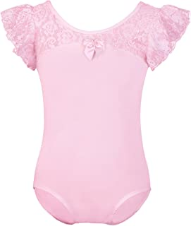 Toddler Girls Lace Ruffle Flutter Sleeve Gymnastics Ballet Dance Leotard Top One-Piece Bodysuit Ballerina Dancewear