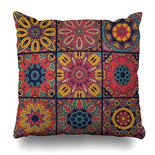 NA Throw Pillow Cover Square Size African Abstract Patchwork Cerámica Antigua Arabesco Árabe Diseño de la Alfombra Funda de cojín Oriental Diseño de decoración del hogar Funda de Almohada