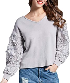 Women Casual Loose Lace Patchwork Puff Sleeve Pullover Knit Sweater Top
