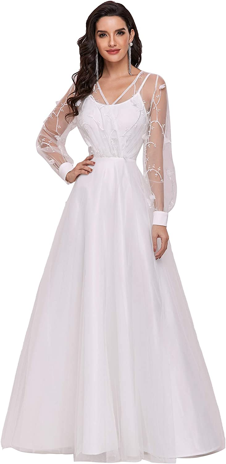 Ever-Pretty Womens V Neck Long Sleeve Tulle A Line Simple Wedding Dress 0242