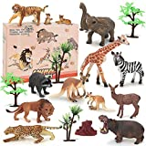 BeebeeRun Animali Giocattolo per Bambini,18 Pezzi Giungla Figure Animali Set,Regalo Bambin...