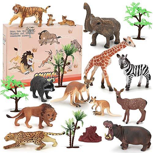 BeebeeRun Animali Giocattolo per Bambini,18 Pezzi Giungla Figure Animali Set,Regalo Bambino 2 3 4 5 Anni