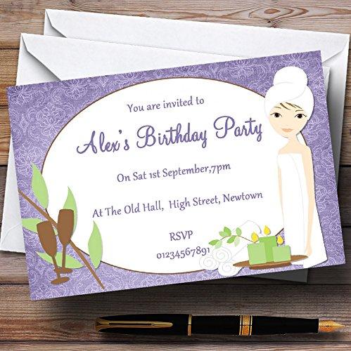 10 x Uitnodigingen Paars Relaxing Spa Makeover Manicure Thema Gepersonaliseerde Verjaardagsfeestje nodigt elke bewoording uit