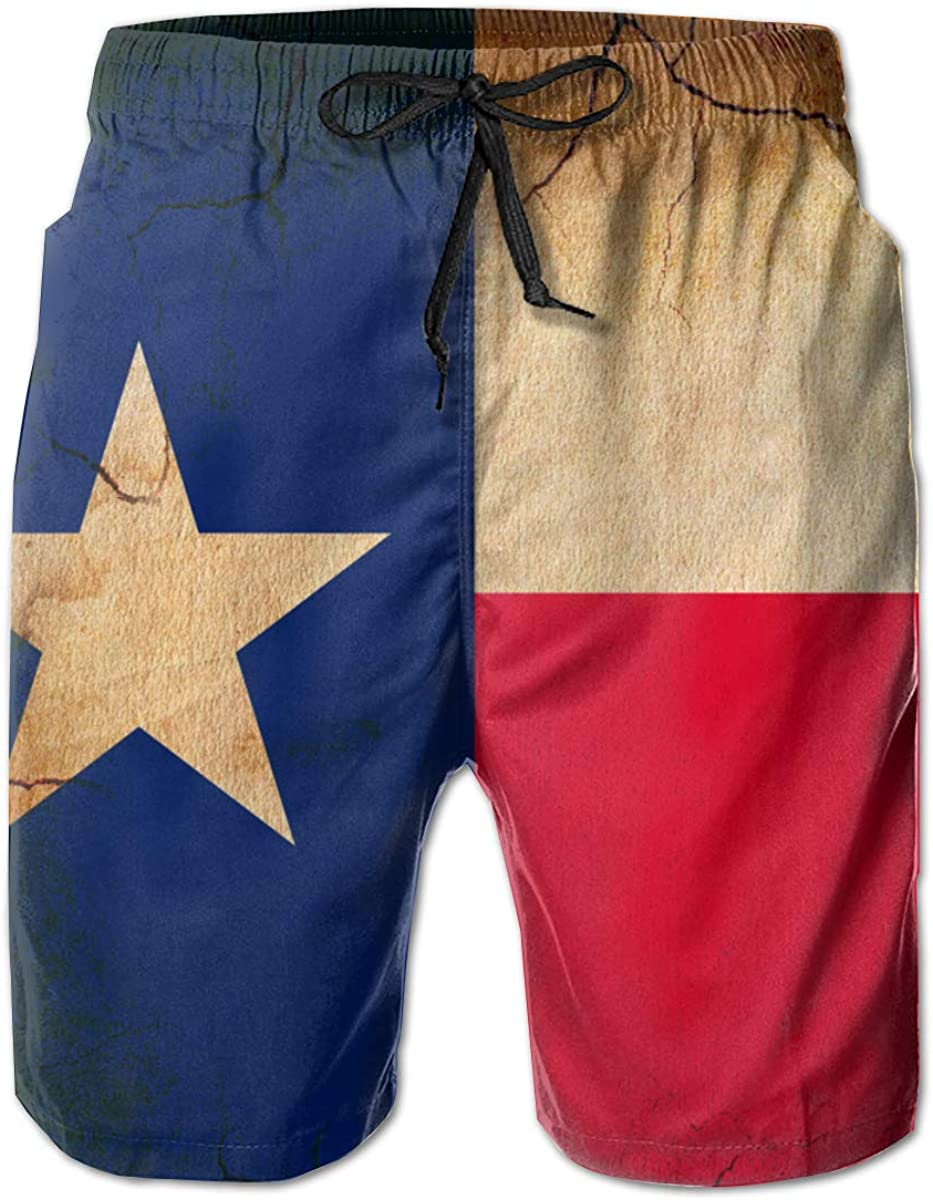 YongColer Men Swim Trunks Drawstring Elastic Waist Beach Shorts (Texas Flag Retro Crack)
