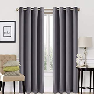 EASELAND 99% Blackout Curtains 2 Panels Set Room Cooling Darkening Drapes Thermal Insulated Solid Grommets Window Treatment Pair for Bedroom, Nursery, Living Room,W52xL84 inch,Dark Grey