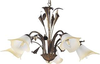 dormir con pies de lámpara 5Luces estilo Clásico de metal Marrón Cepillado Oro.