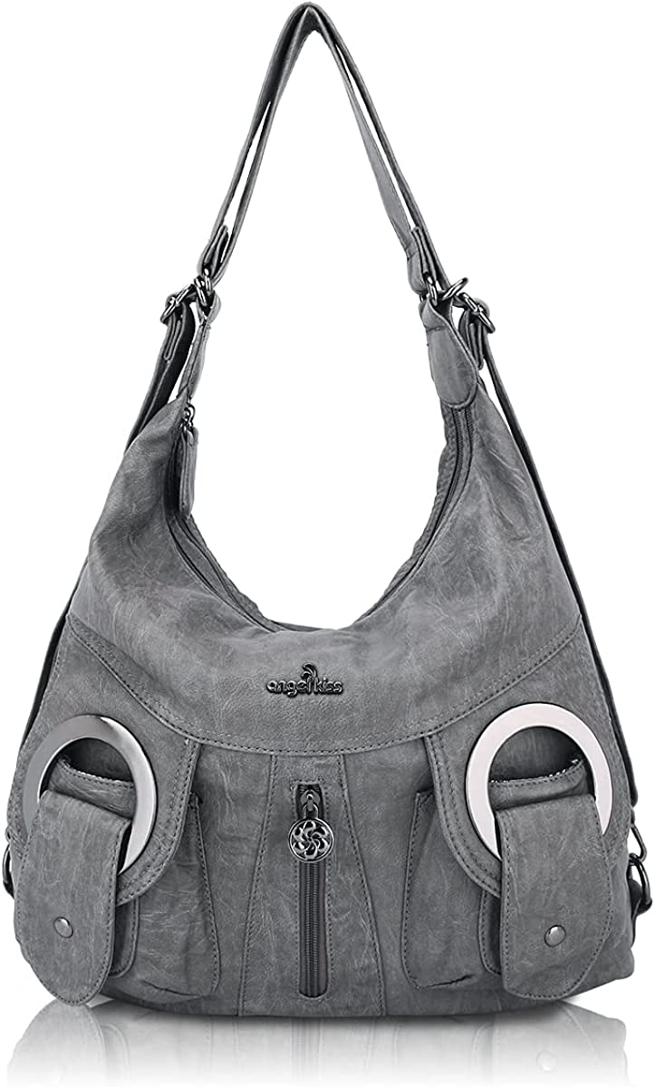 Soft Manufacturer OFFicial shop Washed Leather Hobo Women Roomy Multiple Max 82% OFF Handbags S Pockets