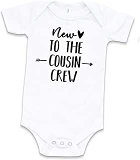 Cozy Bear Boutique New to The Cousin Crew Baby Bodysuit 100% Cotton Funny One Piece White