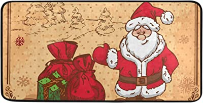 Krafig Rug Merry Chirstmas Non Slip Mat Area Rug Runners Floor Carpet for Kitchen Bedroom Living Room 39x20 Inch