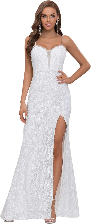 Ever-Pretty Women's Sleeveless V Neck Bodycon Spaghetti Straps Long Side Slit Bridal Gowns Wedding Dress 2021 90296