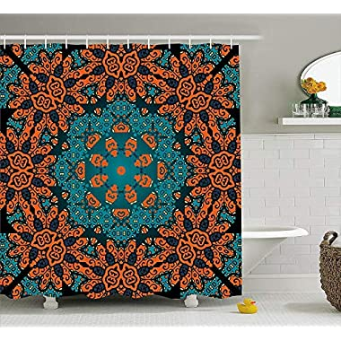 Ambesonne Psychedelic Decor Shower Curtain Set, Round Paisley Floral Patterns with Psychedelic Motif Boho Hippie Decorations Image, Bathroom Accessories, 69W X 70L inches, Teal Orange
