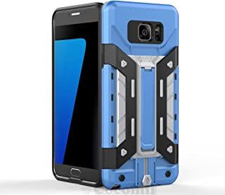 Cocomii Transformer Armor Galaxy Note 5 Case New [Heavy Duty] Built-in Multi Card Holder Kickstand Shockproof Bumper [Military Defender] Full Body Cover for Samsung Galaxy Note 5 (T.Blue/Silver)