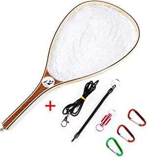 Sptlimes Fly Fishing Landing Net Soft Rubber Mesh Catch and Release Net for Trout Kayak Boating