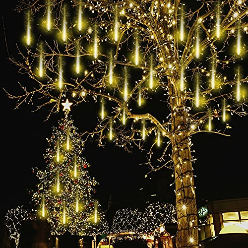 Kwaiffeo Christmas Icicle Lights Outdoor, Waterproof Meteor Shower Lights Fairy String Lights 12 inch 8 Tube 192 LED Cascading Christmas Lights for Tree Holiday Wedding Party, UL Plug, Warm White