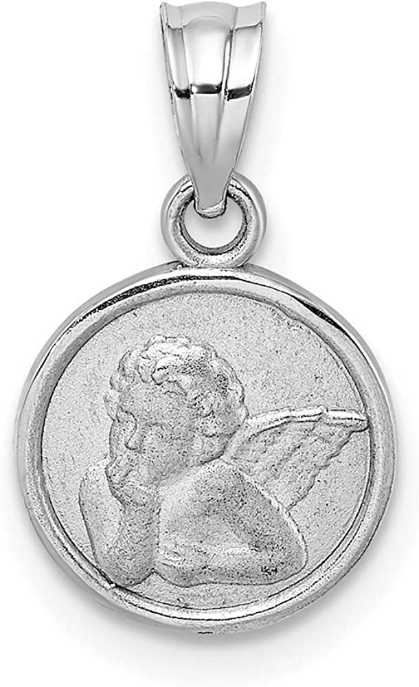 14k White Gold 10mm Engraved 1 Max 73% OFF year warranty Angel Charm Necklace Coin Pendant R
