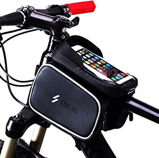 Longteng Bike Front Frame Bag, Waterproof Top Front Tube Bike Bag Sensitive Touch Screen Bike Phone Bag with Detachable Velcro Design, Lndependent Storage Space for Cellphone Below 6.0 Inches