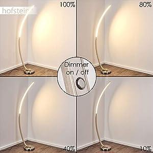 Dimmbare LED Stehlampe Kimbolton aus Metall im stylischen Design, Bodenlampe für Wohnzimmer, Schlafzimmer, Flur, Schmale Lichtleiste, mit stufenlosem Touchdimmer am Gehäuse, 3000 Kelvin, 1000 Lumen