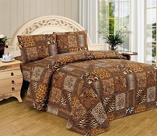 WPM WORLD PRODUCTS MART Animal Zebra Leopard Print Sheet Set: 3 Piece Black Brown Jungle Safari Prints Flat Fitted Bed Sheets Pillow case sham Twin Size Bedding (2536A, Twin)