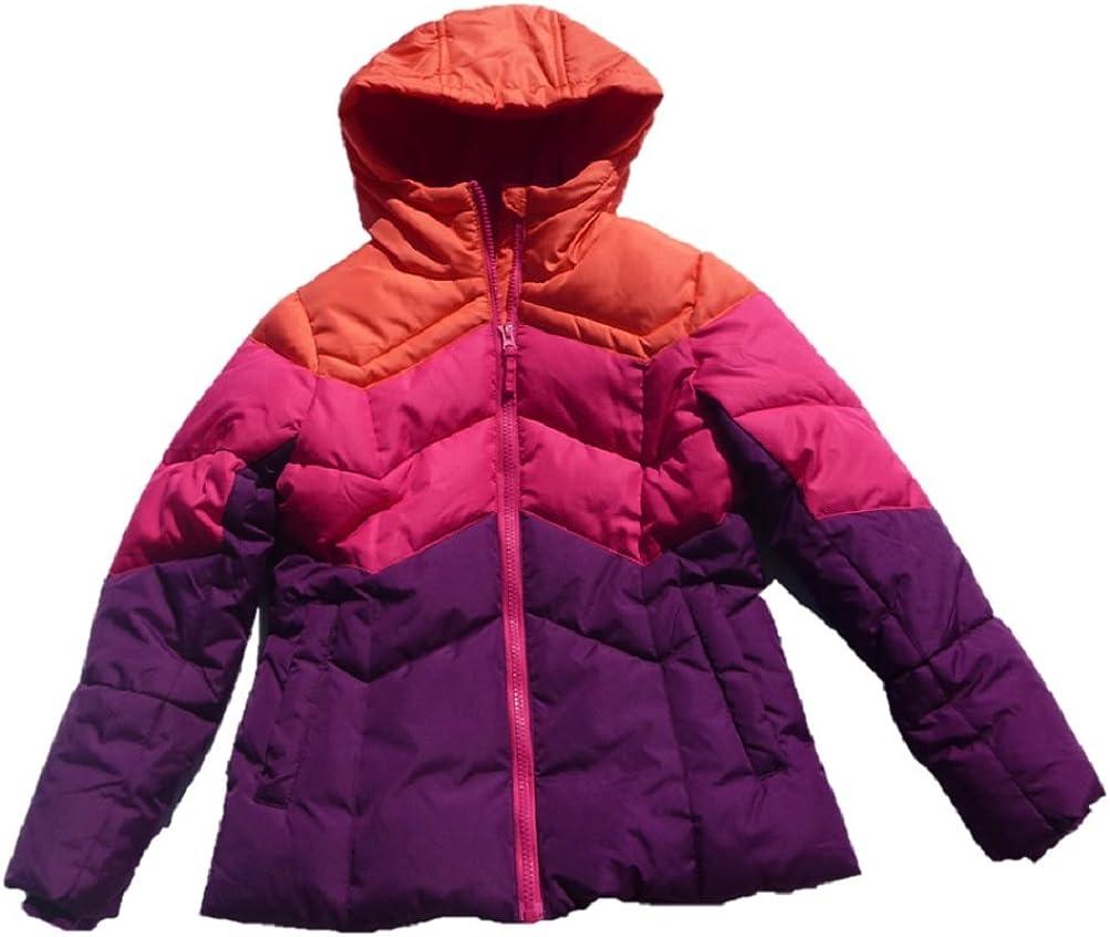 Falls Creek Girls Tri-Colored Fleece Lined Puffer Jacket Coat with Hood