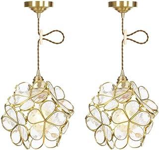 Lustre de ferme 2 Pack Pendentif en verre créatif Lumière moderne Mode classique E27 Porte-lampe en laiton suspendu Plafon...