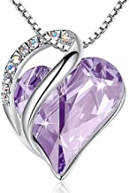 """Leafael""""Infinity Love"""" Heart Pendant Necklace Birthstone Crystal Jewelry Gifts for Women, Silver-tone, 18""""+2"""", Presented by Miss New York"""