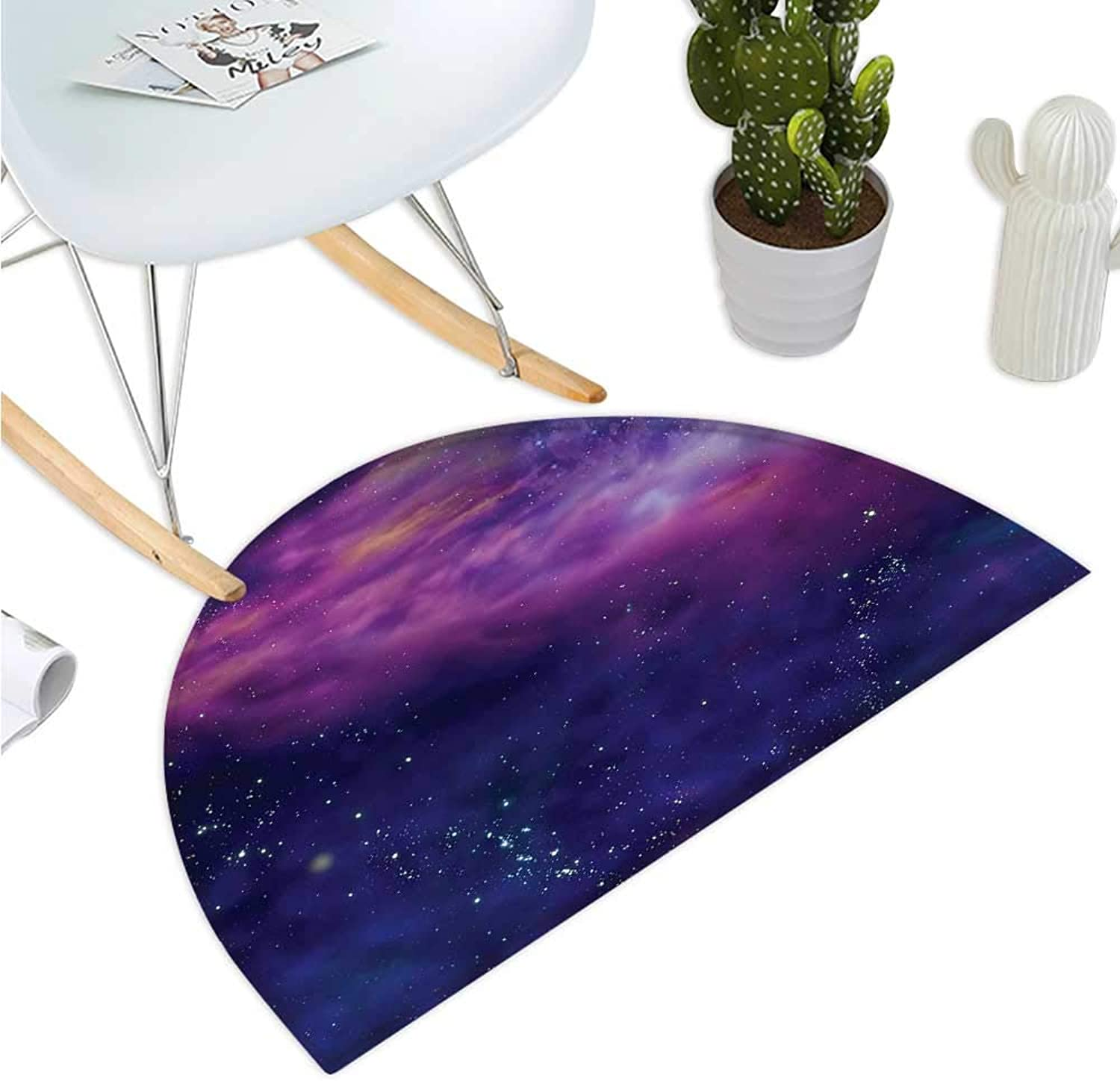 Outer Space Semicircular Cushion Spiritual Dim Star Clusters Milky Way Inspired Circle Back with Solar Elements Entry Door Mat H 47.2  xD 70.8  Purple bluee