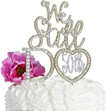 Lulu Sparkles LLC Gold 50th Anniversary Cake topper We Still Do in Crystal Rhinestones vow renewal (Heart Shape 50th)