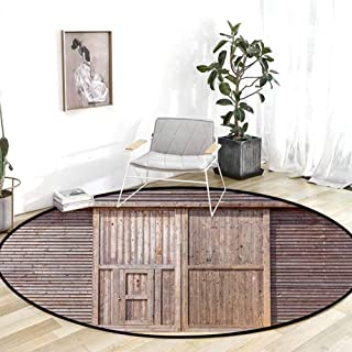 Kitchen Rugs and mats Industrial Decor Old Wooden Timber Oak Barn Door Farmhouse Countryside Rural House Village Artsy Print Brown Office Chair mat for Carpet 6.7'Round