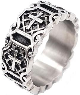 Silver Black Celtic Knot Medieval Prayer Cross Wedding Anniversary Band Ring, Stainless Steel Men Women Religious Cross Ring High Polished Vintage Holy Saint Christian Prayer Band Ring