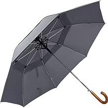ZEKAR Wood/Bamboo J-Handle Premium Stick Umbrella | 54 & 62 inch | Windproof Large Classic Rain for Men Women | Unique UK Style | 300T Fabric
